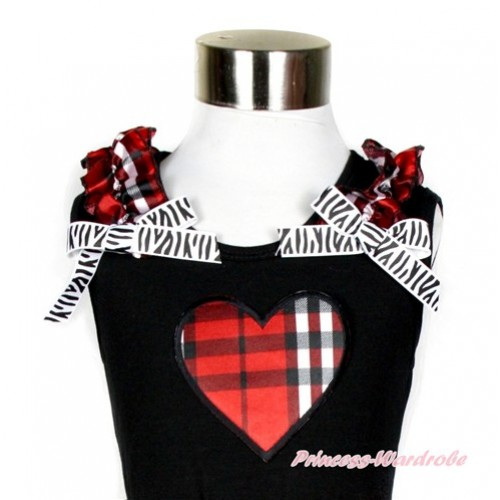 Black Tank Top With Red Black Checked Ruffles & Zebra Bow With Red Black Checked Heart Print TB580
