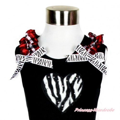 Black Tank Top With Red Black Checked Ruffles & Zebra Bow With Zebra Heart Print TB581