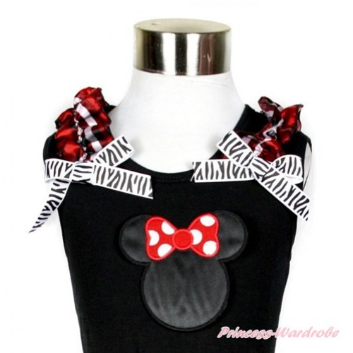 Black Tank Top With Red Black Checked Ruffles & Zebra Bow With Minniet Print TB582