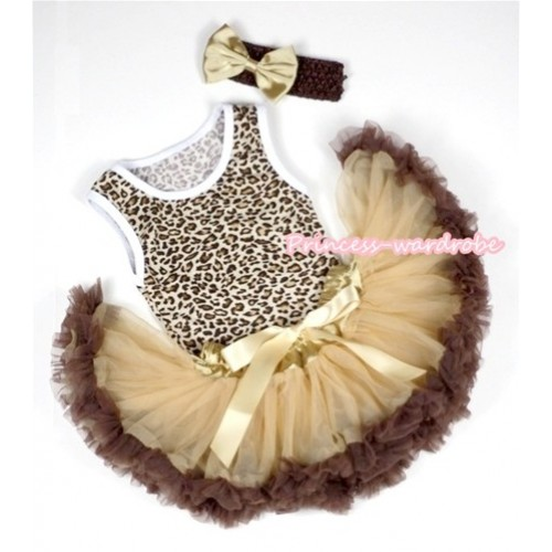 Leopard Baby Pettitop with Light Dark Brown Newborn Pettiskirt With Brown Headband Goldenrod Satin Bow 3PC Set NP019