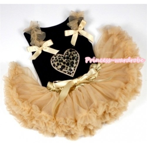 Black Baby Pettitop with Leopard Heart Print with Goldenrod Ruffles & Goldenrod Bows with Goldenrod Newborn Pettiskirt NG526