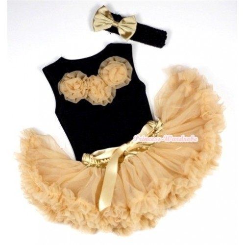 Black Newborn Pettitop with Goldenrod Rosettes with Goldenrod Newborn Pettiskirt With Black Headband Goldenrod Satin Bow NG423