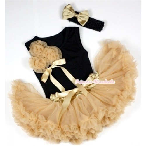 Black Baby Pettitop with Bunch of Goldenrod Rosettes& Goldenrod Bow with Goldenrod Newborn Pettiskirt With Black Headband Goldenrod Satin Bow 3PC Set NG424