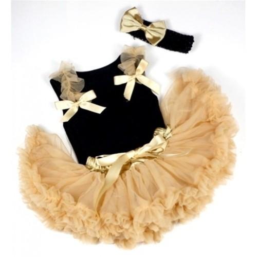 Black Baby Pettitop & Goldenrod Ruffles & Goldenrod Bow with Goldenrod Newborn Pettiskirt With Black Headband Goldenrod Satin Bow NG425