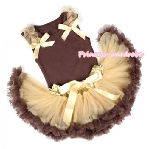 Brown Baby Pettitop & Goldenrod Ruffles & Goldenrod Bows with Light Dark Brown Baby Pettiskirt BG62