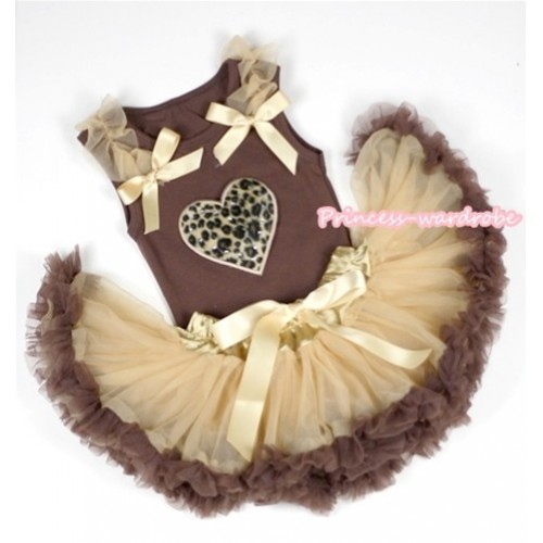 Brown Baby Pettitop with Leopard Heart Print with Goldenrod Ruffles & Goldenrod Bows with Light Dark Brown Newborn Pettiskirt BG64