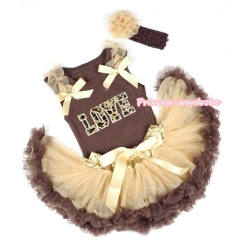 Brown Baby Pettitop with Leopard Love Print with Goldenrod Ruffles& Goldenrod Bows & Light Dark Brown Newborn Pettiskirt With Brown Headband Goldenrod Rose BG68