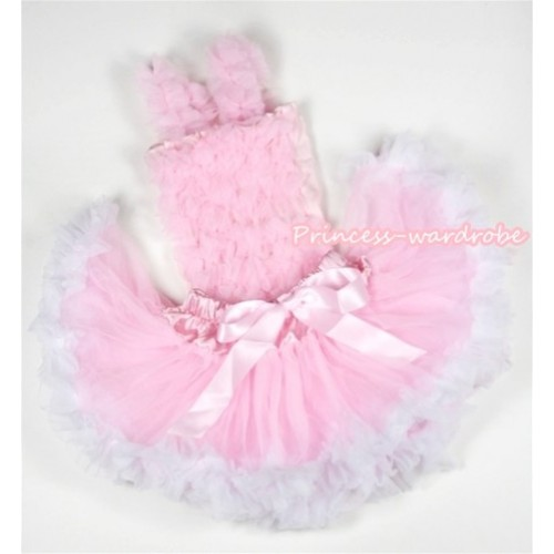 Light Pink Baby Ruffles Tank Top with Light Pink White Baby Pettiskirt NR32
