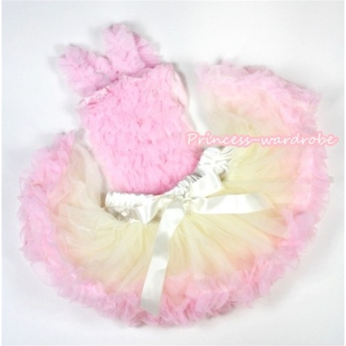 Light Pink Baby Ruffles Tank Top with Cream White Light Pink Baby Pettiskirt NR34