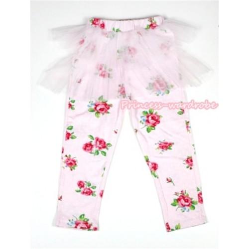 Light Pink Rosettes Fusion Pattern Skinny Leggings With Light Pink Tutu Dress LG146