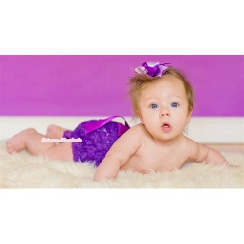 Dark Purple Romantic Rose Panties Bloomers With Dark Purple Bow BR37