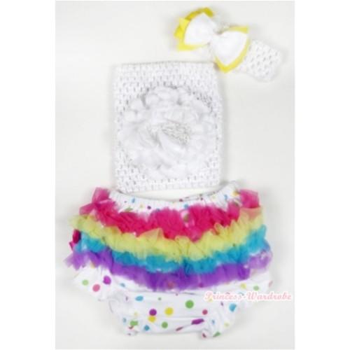 Rainbow Ruffles White Rainbow Dots Panties Bloomer with White Peony White Crochet Tube Top With White Headband White Yellow Ribbon Bow 3PC Set CT502