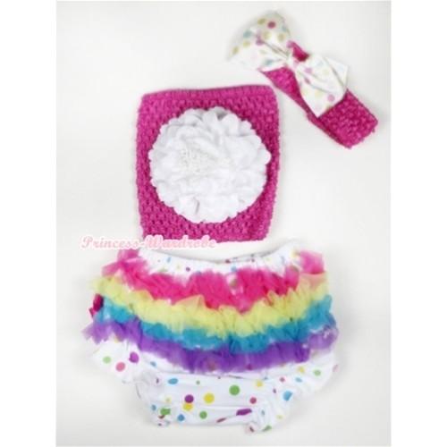 Rainbow Ruffles White Rainbow Dots Panties Bloomer with White Peony Hot Pink Crochet Tube Top With Hot Pink Headband White Rainbow Satin Bow 3PC Set CT503