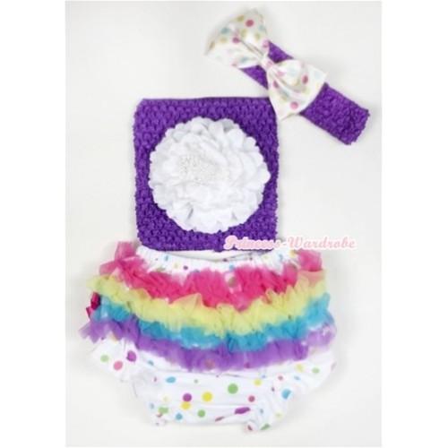 Rainbow Ruffles White Rainbow Dots Panties Bloomer with White Peony Dark Purple Crochet Tube Top With Dark Purple Headband White Rainbow Satin Bow 3PC Set CT504