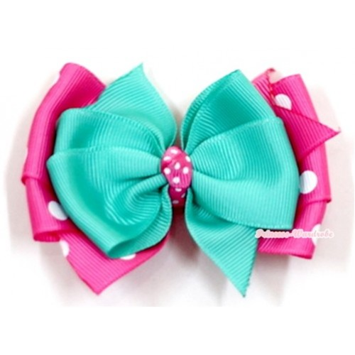 Aque Blue & Hot Pink White Dots Ribbon Bow Hair Clip H546