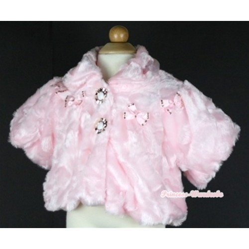 Light Pink Hairy Soft Fur with Mini Bow Shawl Coat SH36