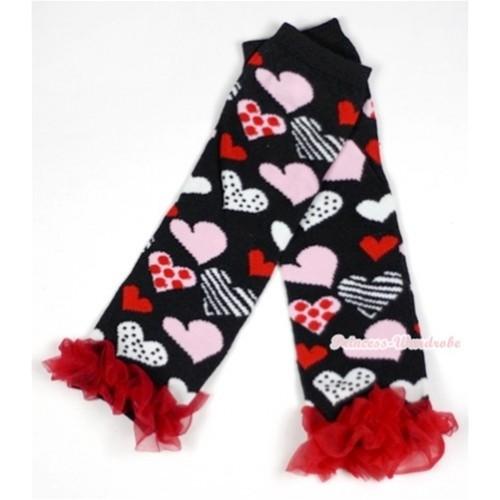 Newborn Baby Black Sweet Heart Fusion Leg Warmers Leggings With Red Ruffles LG228