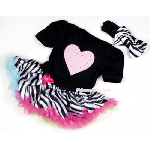 Black Baby Jumpsuit Rainbow Zebra Pettiskirt With Light Pink Heart Print With Black Headband Zebra Satin Bow JS137