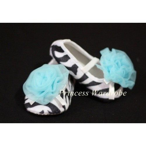 Baby Zebra Crib Shoes with Light Blue Rosettes S02