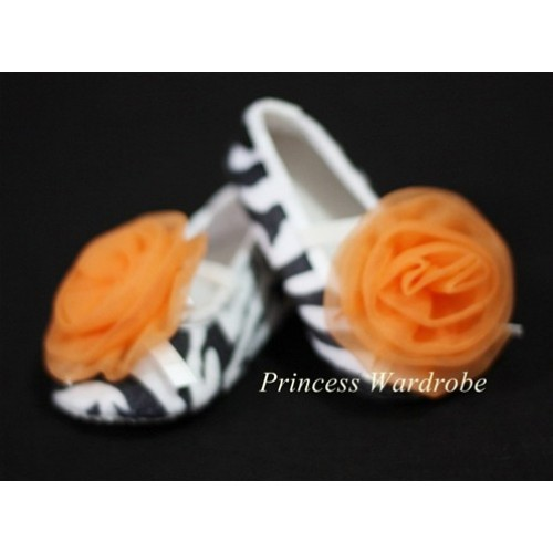 Baby Zebra Crib Shoes with Orange Rosettes S03