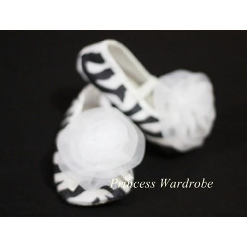 Baby Zebra Crib Shoes with Pure White Rosettes S04
