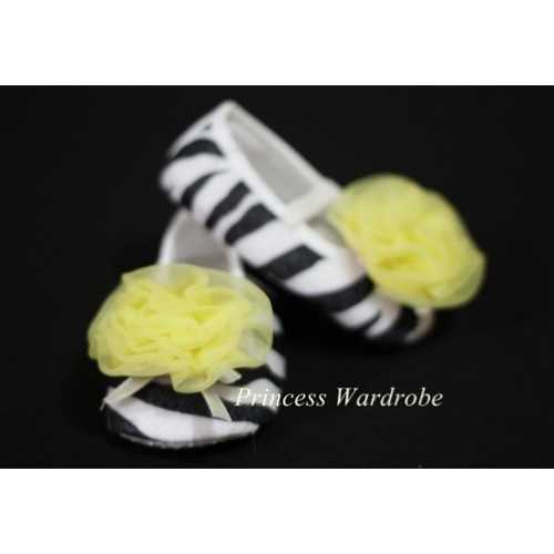 Baby Zebra Crib Shoes with Yellow Rosettes S06