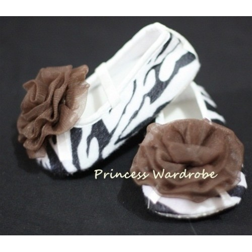 Baby Zebra Crib Shoes with Coffee Brown Rosettes S08