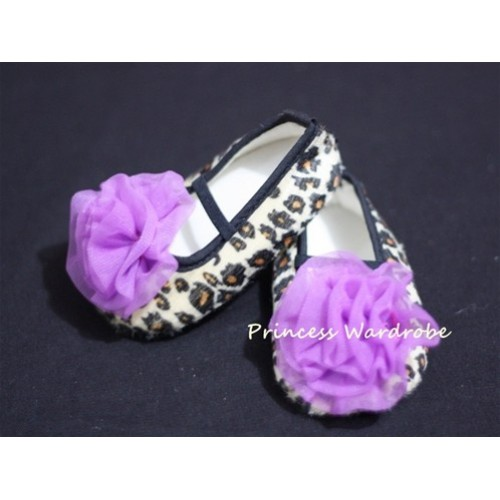 Baby Leopard Crib Shoes with Dark Purple Rosettes S18