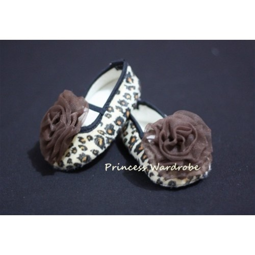 Baby Leopard Crib Shoes with Coffee Brown Rosettes S19