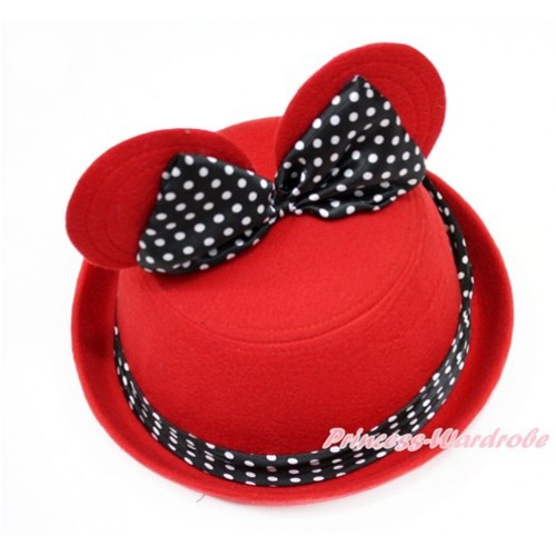 Red Minnie Ear with Black White Dots Bow Bowler Hat H794