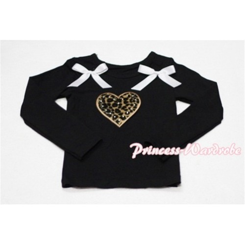 Leopard Sweet Heart Black Long Sleeves Top with White Ribbon TW115