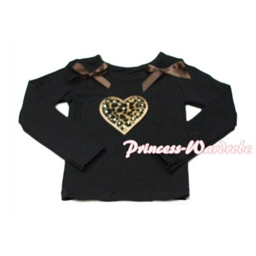 Leopard Sweet Heart Black Long Sleeves Top with Brown Ribbon TW117
