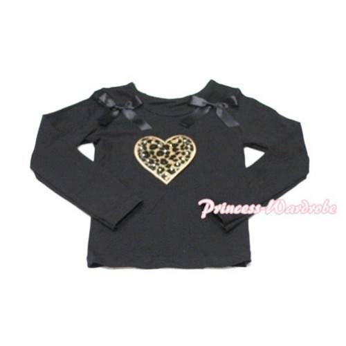 Leopard Sweet Heart Black Long Sleeves Top with Black Ribbon TW118