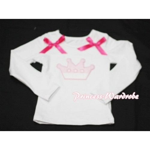 Cute Pink Crown White Long Sleeves Top with Hot Pink Ribbon TW122