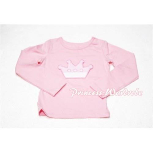 Cute Pink Crown Pink Long Sleeves Top TW124