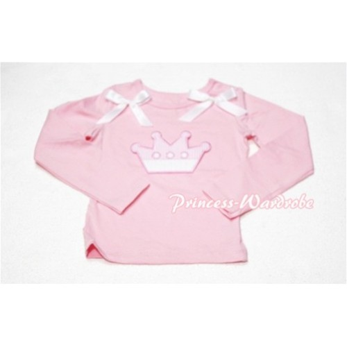 Cute Pink Crown Pink Long Sleeves Top with White Ribbon TW125