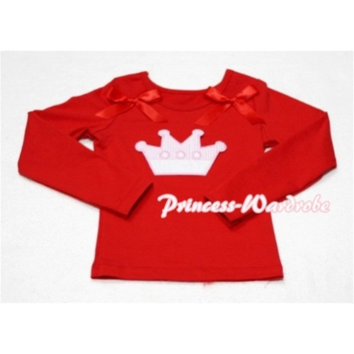 Cute Pink Crown Red Long Sleeves Top with Hot Red Ribbon TW132