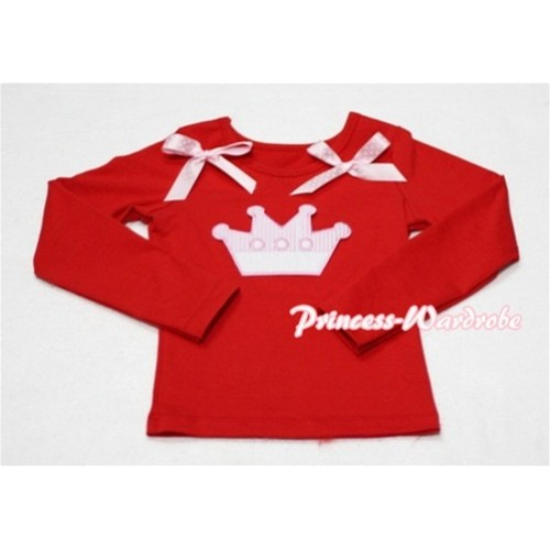 Cute Pink Crown Red Long Sleeves Top with Light Pink Dot Ribbon TW133