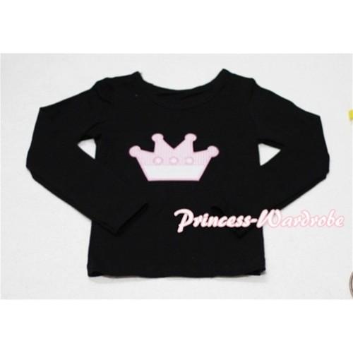 Cute Pink Crown Black Long Sleeves Top TW134