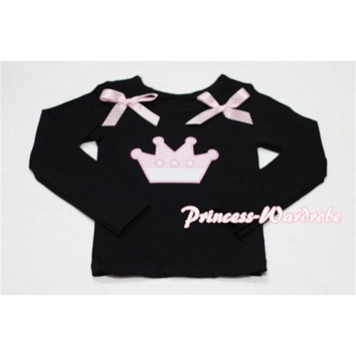 Cute Pink Crown Black Long Sleeves Top with Light Pink Dot Ribbon TW137