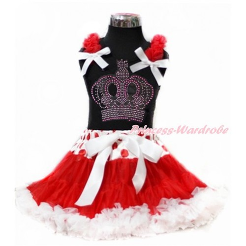 Black Tank Top with Red Ruffles & White Bow with Sparkle Crystal Bling Rhinestone Crown Print & Red White Dots Waist Red White Pettiskirt MG950