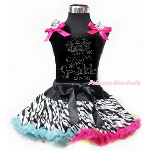 Black Tank Top with Zebra Ruffles & Hot Pink Bows with Sparkle Crystal Bling Rhinestone Keep Calm And Sparkle On Print With Rainbow Zebra Pettiskirt MG965