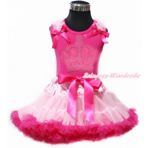 Hot Pink Tank Top with Light Pink Ruffles & Hot Pink Bow with Sparkle Crystal Bling Rhinestone Crown Print & Light Hot Pink Pettiskirt MH158