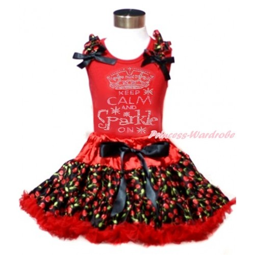 Red Tank Top with Black Cherry Ruffles & Black Bows & Sparkle Crystal Bling Rhinestone Keep Calm And Sparkle On Print with Hot Red Black Cherry Pettiskirt CM179