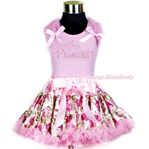 Light Pink Tank Top with Light Pink Ruffles & Light Pink Bow with Sparkle Crystal Bling Rhinestone Princess Print With Light Pink Rose Fusion Pettiskirt M340