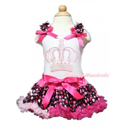 Valentine's Day White Baby Pettitop with Hot Light Pink Heart Ruffles & Hot Pink Bows with Sparkle Crystal Bling Rhinestone Crown Print with Hot Light Pink Heart Newborn Pettiskirt NN129