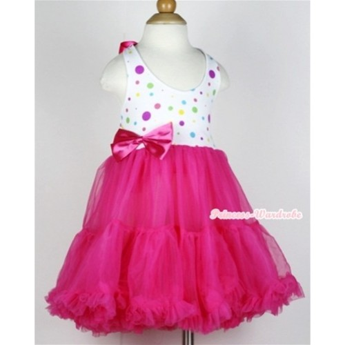 Hot Pink White Rainbow Polka Dots with ONE-PIECE Petti Dress with Hot Pink Satin Bow LP19