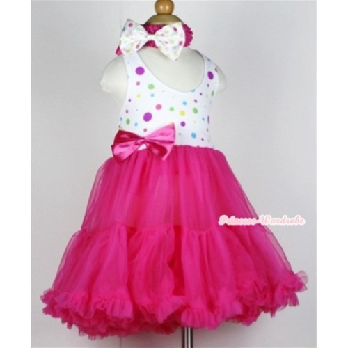 Hot Pink White Rainbow Polka Dots with ONE-PIECE Petti Dress with Hot Pink Satin Bow with Hot Pink Headband White Rainbow Dots Satin Bow LP20