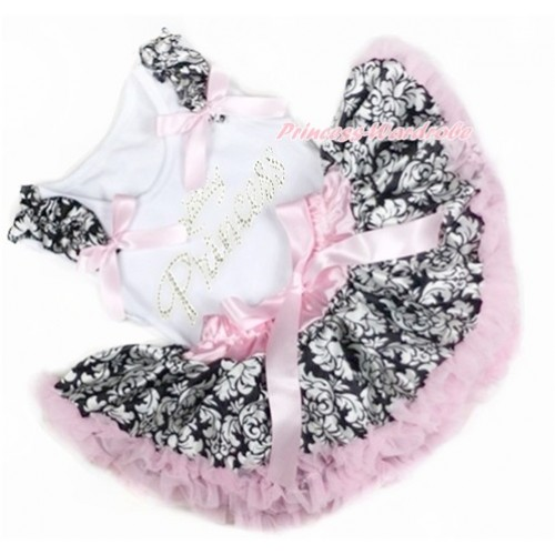 White Baby Pettitop with Damask Ruffles & Light Pink Bows with Sparkle Crystal Bling Rhinestone Princess Print with Light Pink Damask Newborn Pettiskirt NN146