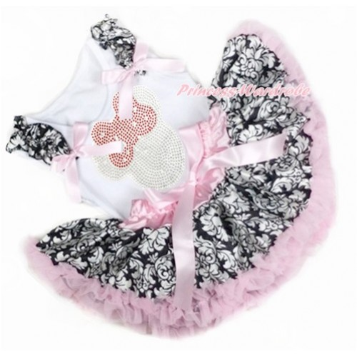 White Baby Pettitop with Damask Ruffles & Light Pink Bows with Sparkle Crystal Bling Rhinestone Red Minnie Print with Light Pink Damask Newborn Pettiskirt NN148